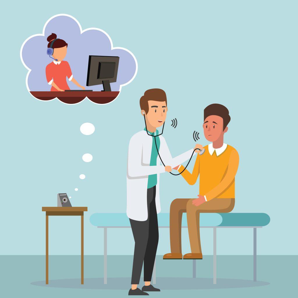 physician using virtual medical scribe