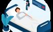 nurse at bed