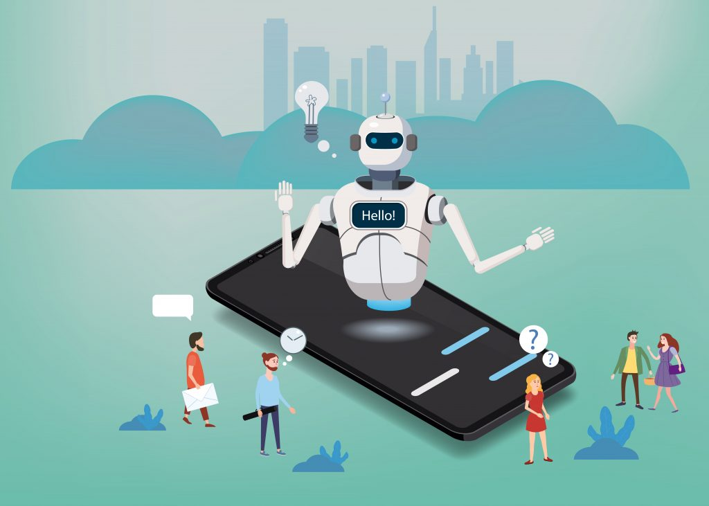 Chat bot smartphone concept. Artificial Intelligence, Knowledge Expertise Intelligence Learn