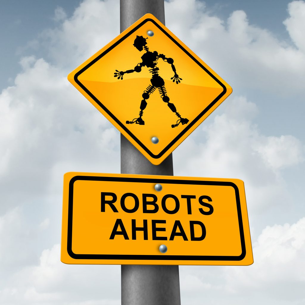 Robot and robotic technology concept as a traffic sign with a futuristic humanoid cyborg icon