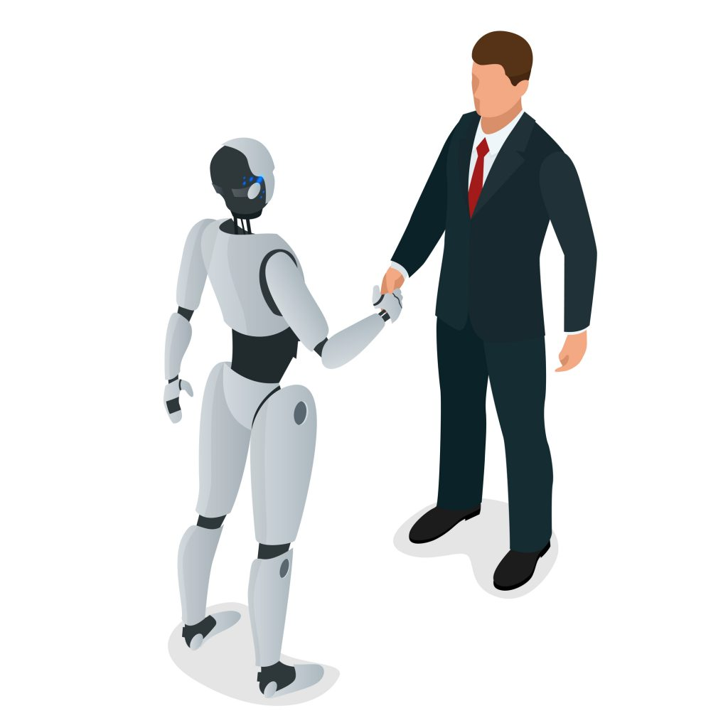 Men and robot have trust and greet or confirm a deal, handshake