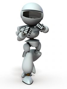A robot that wrestled in a fighting posture. It shows a fighting spirit. White background. 3D illustration.