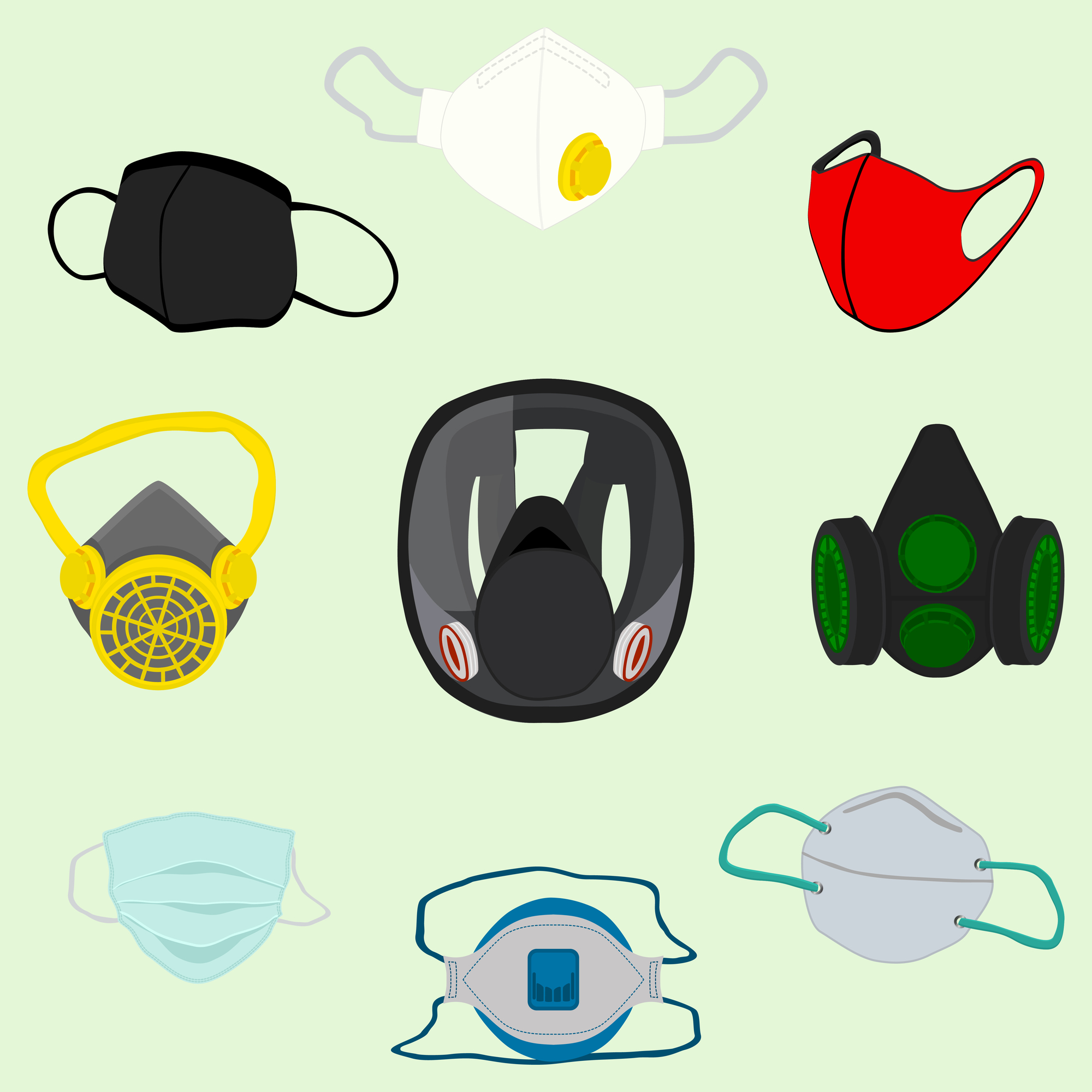 Different respirator masks for prevention coronavirus from covid.