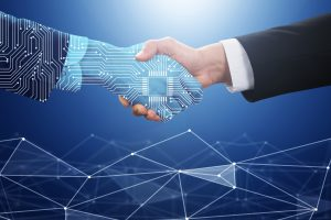 Businessperson Shaking Hand With Digital Partner