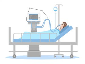 Man is lying on a bed in a hospital room, The patient connected to a ventilator In a flat cartoon style