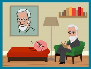 freud talking to brain on couch