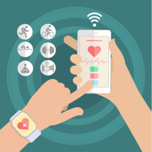 Hands holding touch phone and smart watch with mobile app health sensor. Flat design vector illustration